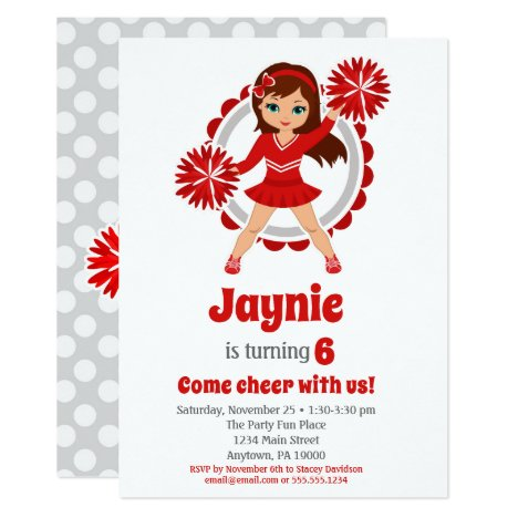 Red Cheerleader - Brunette Girls Cheer Birthday Invitation