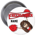Red Cheerleader Girl | Personalize Button