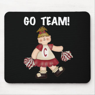 Red Cheerleader Go Team Mouse Pad