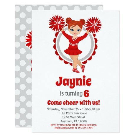 Red Cheerleader - Redhead Girls Cheer Birthday Invitation