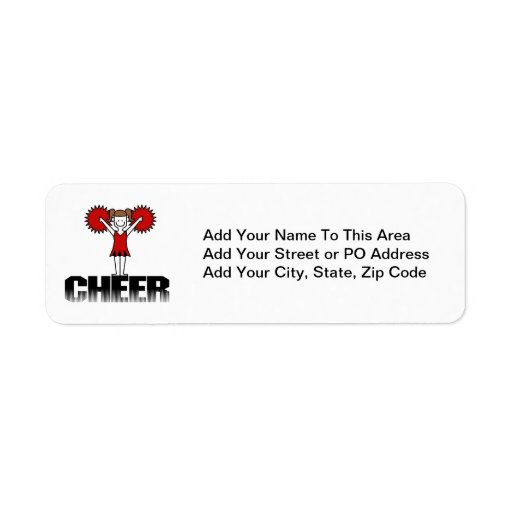 Red Cheerleader Tshirts and Gifts Custom Return Address Labels