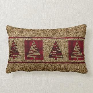 Red Cheetah Print Christmas Tree Pattern Throw Pillow