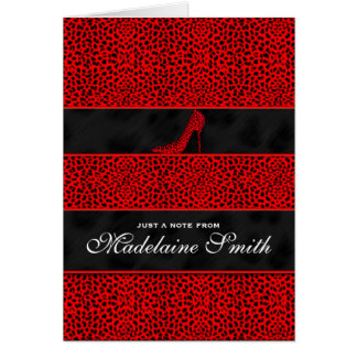 Red Cheetah Print Personalized Deluxe Card