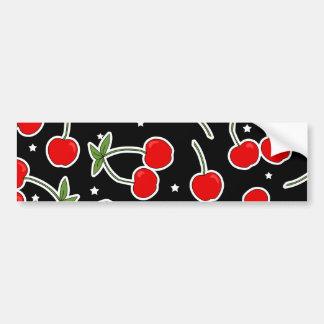 Red Cherries and Stars Pattern Bumper Sticker