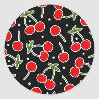 Red Cherries and Stars Pattern Classic Round Sticker
