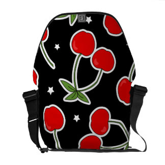 Red Cherries and Stars Pattern Courier Bag