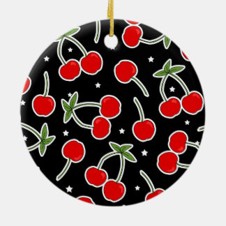 Red Cherries and Stars Pattern Ornament