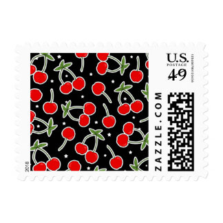 Red Cherries and Stars Pattern Postage