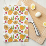 Red Cherries Apricots Fruit Watercolor Pattern Hand Towel
