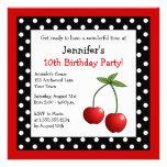 Red Cherries Birthday Black & White Polka Dots Custom Invitations