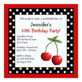 Red Cherries Birthday Black & White Polka Dots Invitation