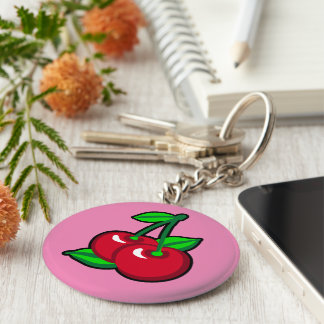 Red Cherries for cherry pickers on light purple Keychain