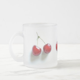 Red Cherries Frosted Glass Coffee Mug