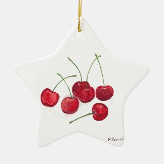 Red cherries fruit ceramic ornament
