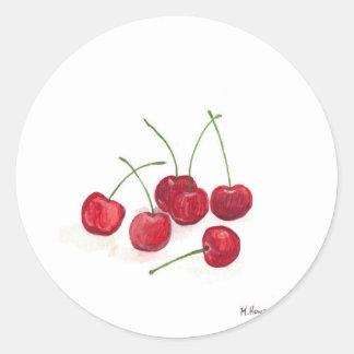 Red cherries fruit classic round sticker