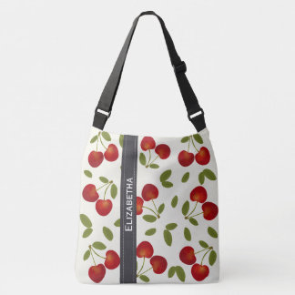 Red cherries fruit patterns crossbody bag