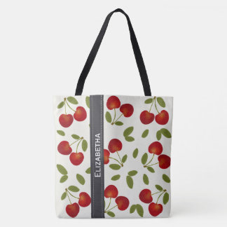 Red cherries fruit patterns tote bag