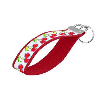 red cherries pattern wrist keychain