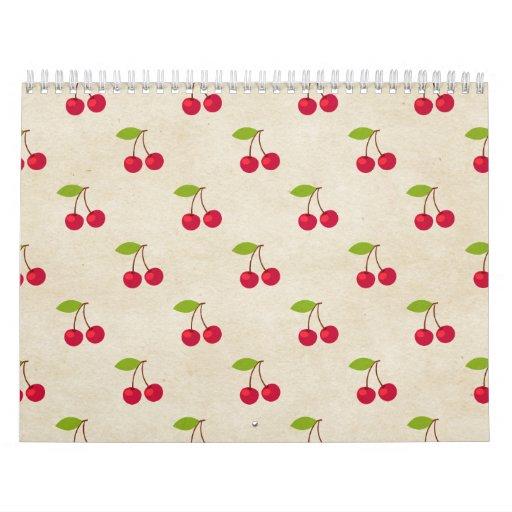 Red Cherries Tiny Cherry Print Rustic Vintage Wall Calendars
