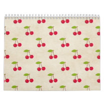 Red Cherries Tiny Cherry Print Rustic Vintage Calendar