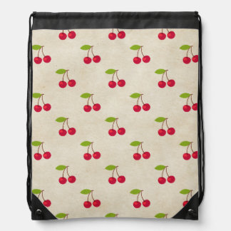 Red Cherries Tiny Cherry Print Rustic Vintage Drawstring Bag