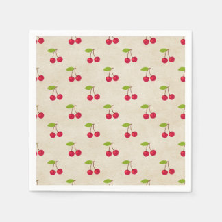 Red Cherries Tiny Cherry Print Rustic Vintage Standard Cocktail Napkin