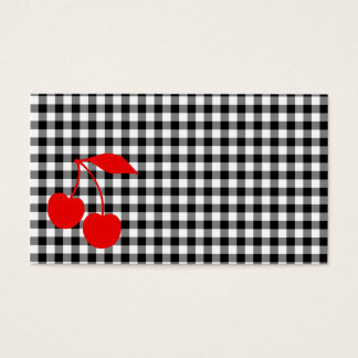 Red Cherries with Black Gingham Business Card