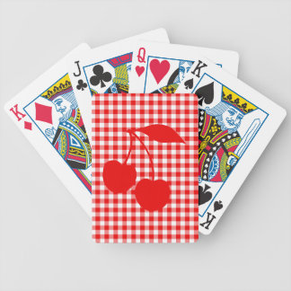 Red Cherries with Gingham Playing Cards