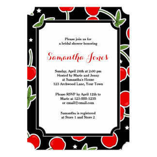 Red Cherry and Star Retro Die-cut Bridal Shower Card