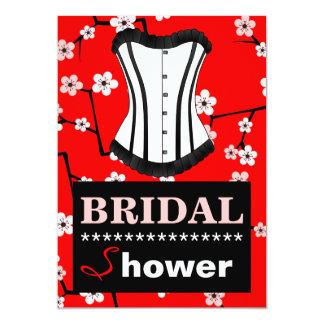 "Red Cherry Blossom Bridal Shower Corset Invitation 5"" X 7"" Invitation Card"