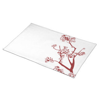 Red Cherry Blossom Placemat Cloth Placemat