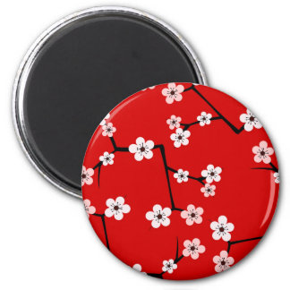 Red Cherry Blossom Print 2 Inch Round Magnet