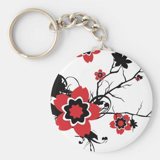 Red Cherry Blossom Sakura Design Basic Round Button Keychain