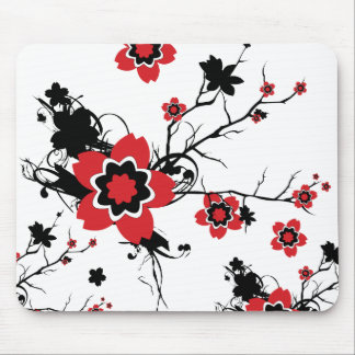 Red Cherry Blossom Sakura Design Mouse Pad