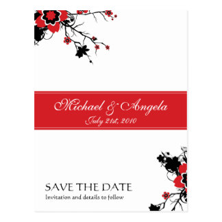 Red Cherry Blossom Sakura Save the Date Postcard