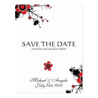 Red Cherry Blossom Sakura Save the Date Postcards