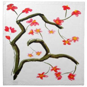 red cherry blossom napkins zazzle