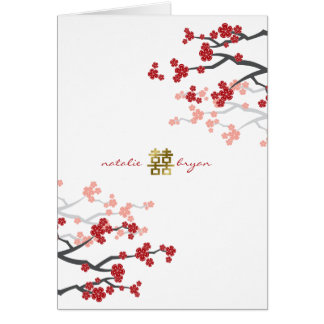 Red Cherry Blossoms Double Happiness Wedding Invit Greeting Cards