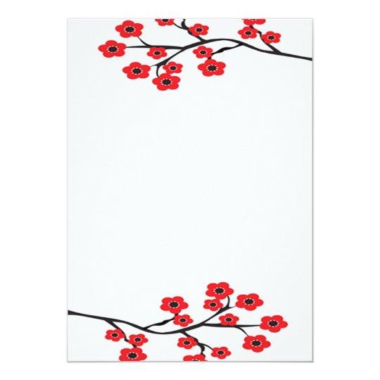 Red Cherry Blossoms Invitation