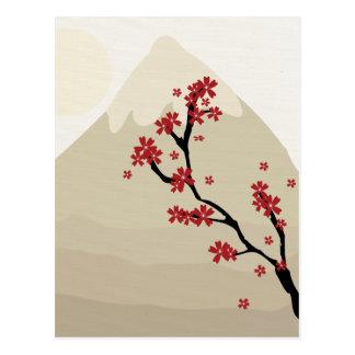Red Cherry Blossoms Mount Fuji Japan Illustration Postcard