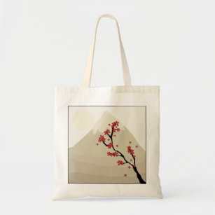 Red Cherry Blossoms Mount Fuji Japan Illustration Tote Bag