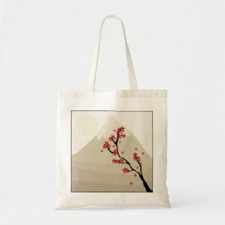 Red Cherry Blossoms Mount Fuji Japan Illustration Tote Bag