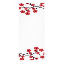 Red Cherry Blossoms Rack Card