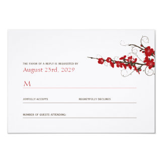 Red Cherry Blossoms Sakura Swirls Wedding RSVP Card