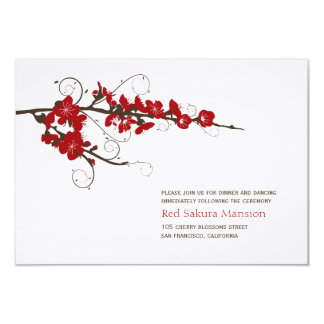 Red Cherry Blossoms Sakura Wedding Reception Card