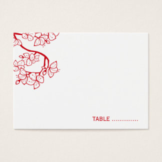 Red Cherry Blossoms Wedding Chic Guest Place Card