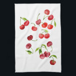 "Red cherry cherries watercolor kitchen towel<br><div class=""desc"">Sweet summer cherries all year long</div>"