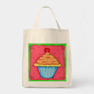 Red Cherry Cupcake Tote Bag