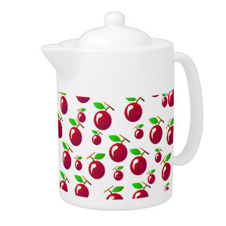 Red Cherry Fruit Pattern Teapot