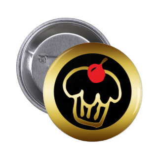 RED CHERRY GOLD CUPCAKE PINBACK BUTTON